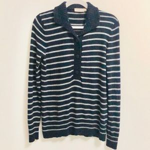 Tory Burch Navy Blue and Gray Striped Sweater (M)